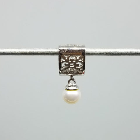 Quilt Dangle Charm with Pearl