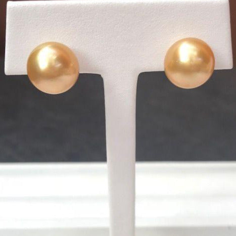 Golden South Sea Button Pearl Stud Earrings