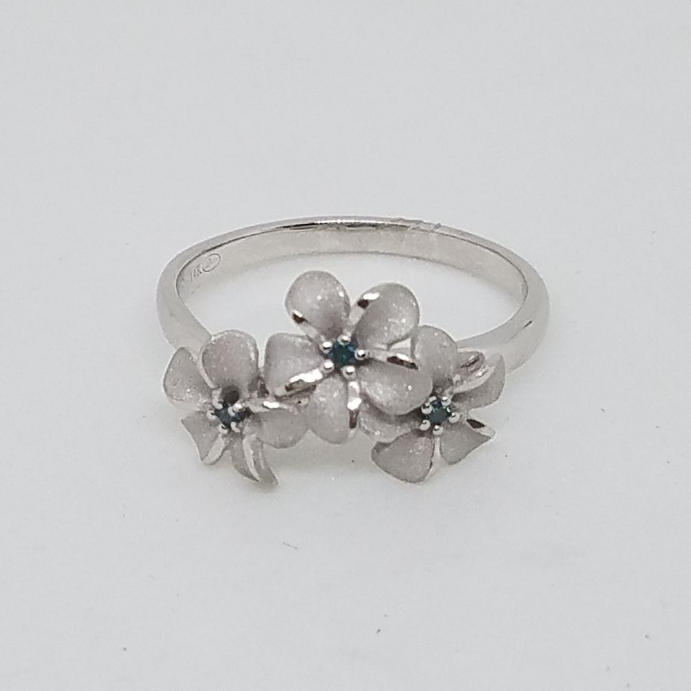 Three Flower Plumeria Ring with Blue Diamonds