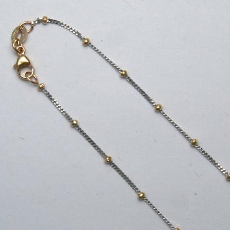 14K Two-Tone Curb Chain with Beads
