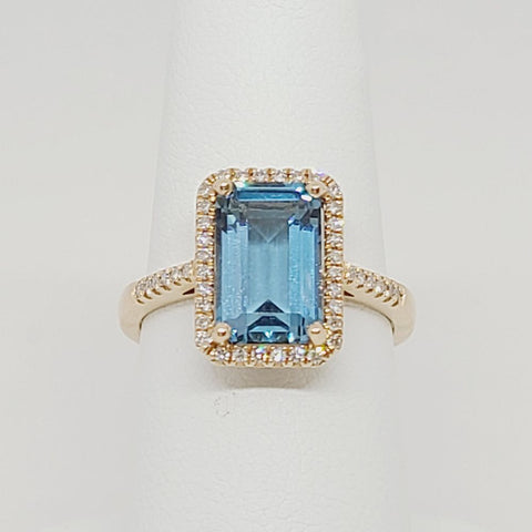 London Blue Topaz Ring with Diamonds