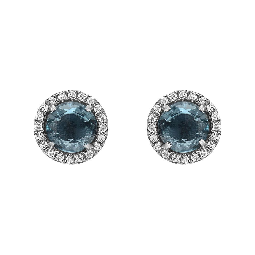 Blue Topaz and Diamond Stud Earrings