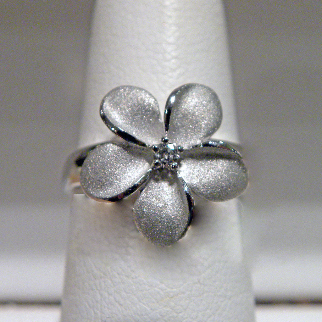 White Gold 15mm Plumeria Flower Ring