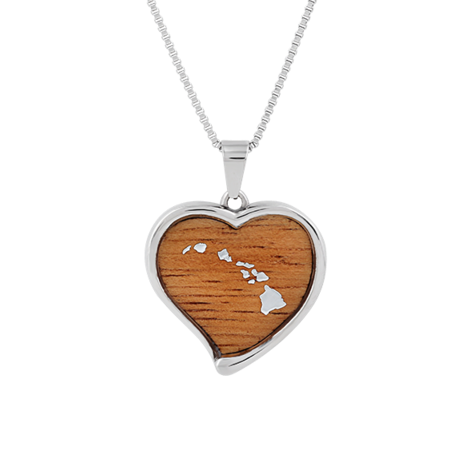 Heart Necklace with Koa Wood