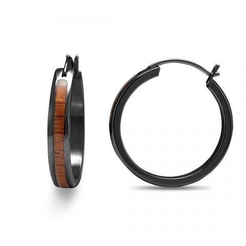 Koa Wood Hoop Earrings - Gunmetal Plated