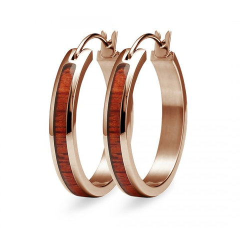 Koa Wood Hoop Earrings - Rose Gold Plated