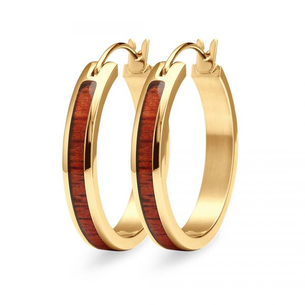 Koa Wood Yellow Gold Hoop Earrings