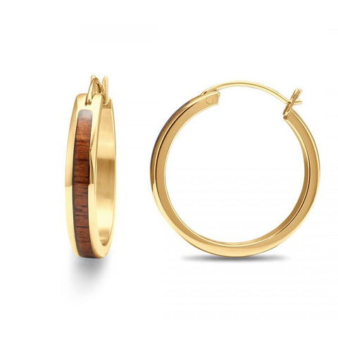 Koa Wood Hoop Earrings - Yellow Gold Plated