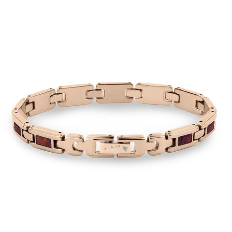 Koa Wood Link Bracelet - Slim Rose Gold Plated