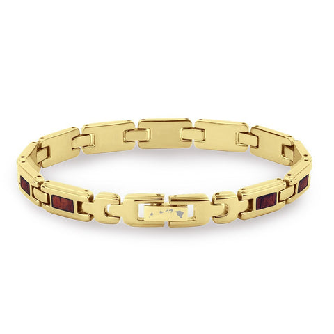 Koa Wood Link Bracelet - Slim Yellow Gold Plated