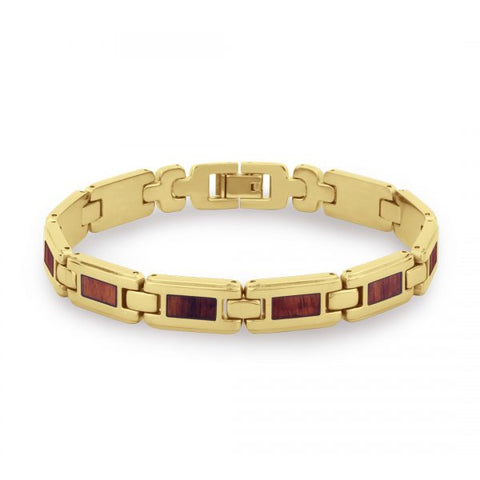 Koa Wood Link Bracelet - Wide Yellow Gold Plated