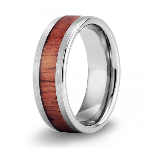 Classic Koa Wood Inlay Tungsten Ring - Brushed