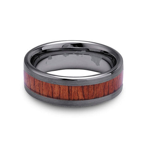 Classic Koa Wood Inlay Tungsten Ring - Gunmetal Brushed Finish