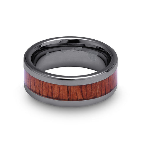Classic Koa Wood Inlay Tungsten Ring - Gunmetal