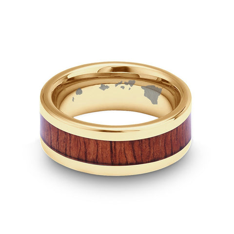 Classic Koa Wood Inlay Tungsten Ring - Yellow Gold Plated