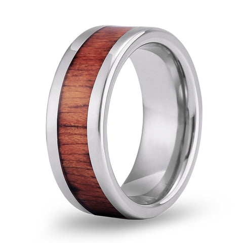 Classic Koa Wood Inlay Tungsten Ring