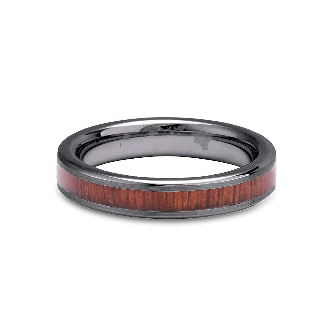 Thin Koa Wood Inlay Tungsten Ring - Gunmetal Brushed Finish