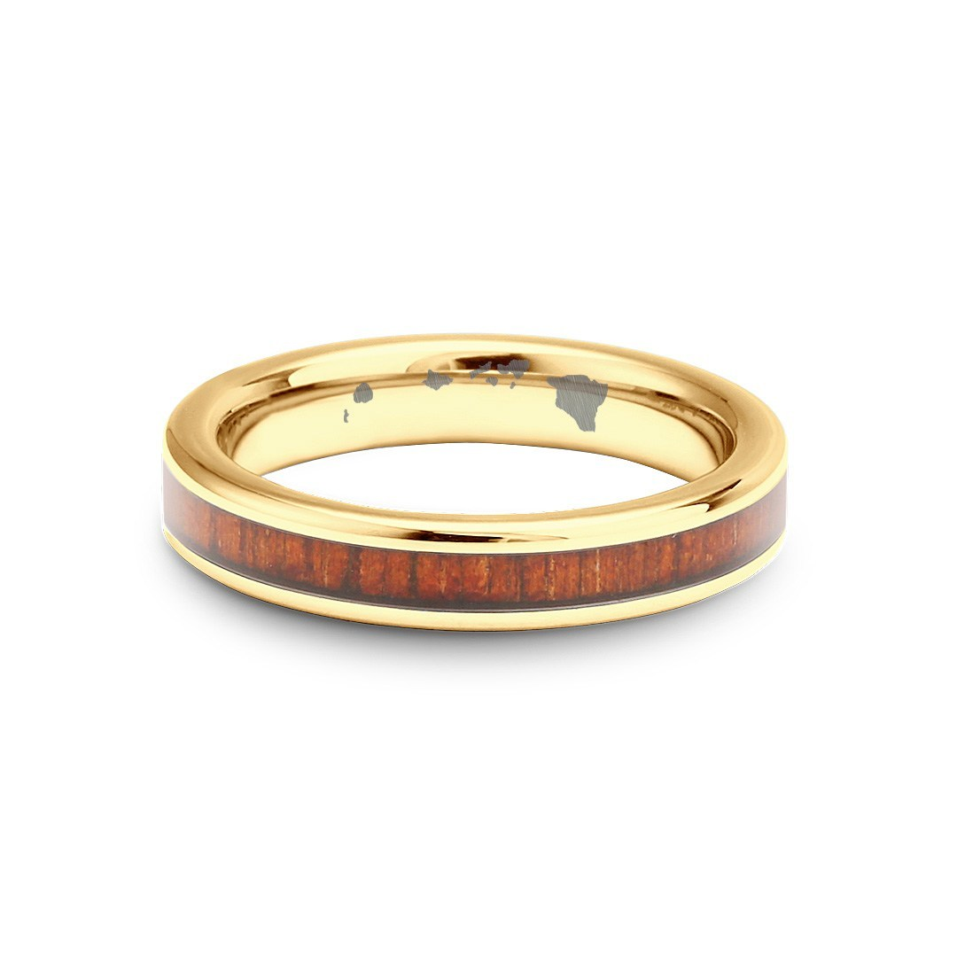 Thin Koa Wood Inlay Tungsten Ring - Yellow Gold Plated