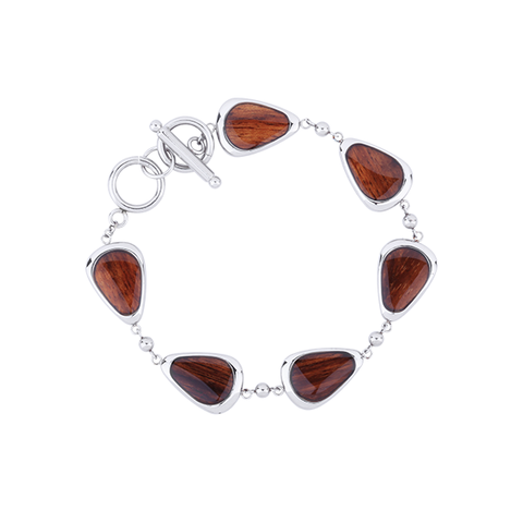 Drop Link Bracelet with Koa Wood