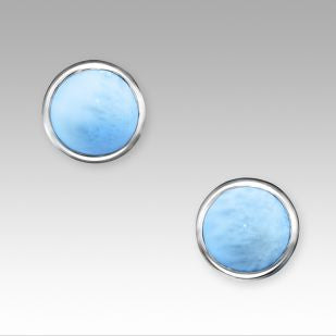 """Basics Round"" Larimar Post Earrings"