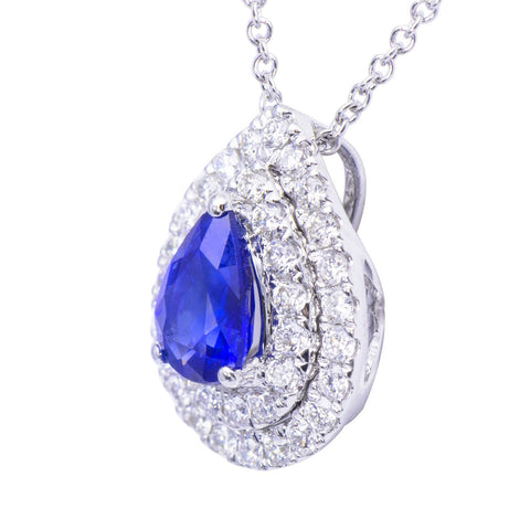 Classic Diamond and Blue Sapphire Pendant
