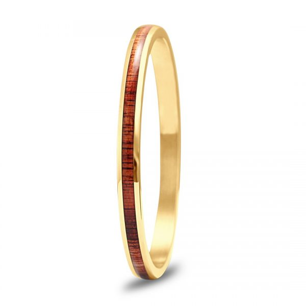 Koa Wood Bangle - Yellow Gold Plated