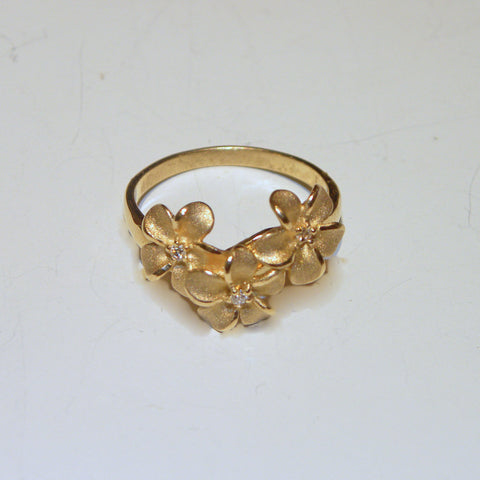Three Flower Plumeria Ring