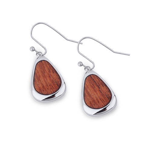 Drop Earrings with Koa Wood