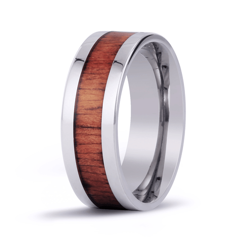 Classic Koa Wood Inlay Titanium Ring