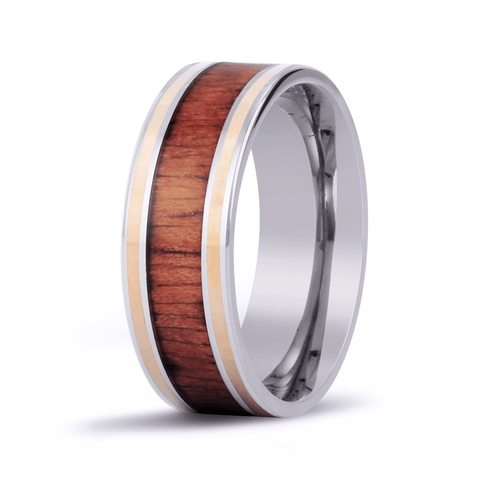 Classic Koa Wood Inlay Titanium Ring with 14k Gold Inlay