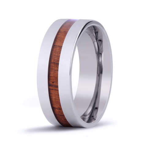 Modern Koa Wood Inlaid Titanium Ring