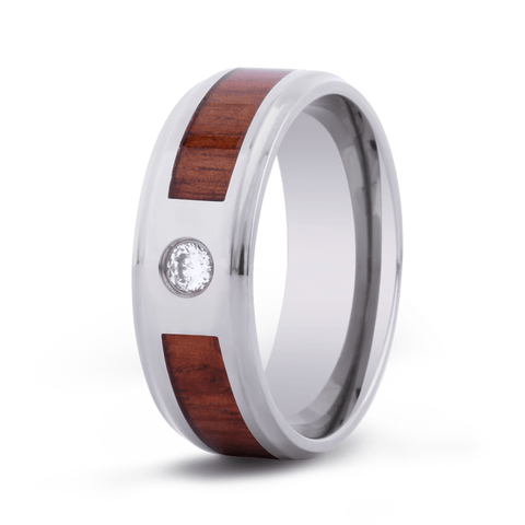 Koa Wood Inlaid Titanium Ring with Diamond