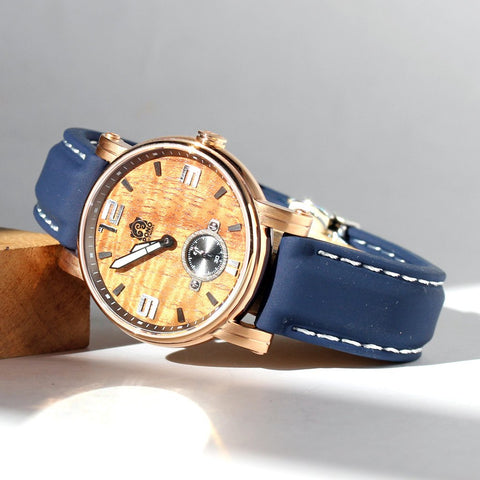 The Small Waterman Koa Wood Watch in Rose Gold