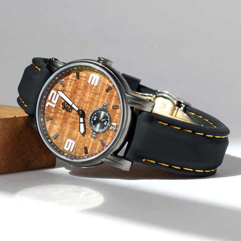 The Waterman Small Gunmetal Koa Wood Watch