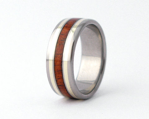 Modern Koa Wood Ring with 14k Gold Inlay