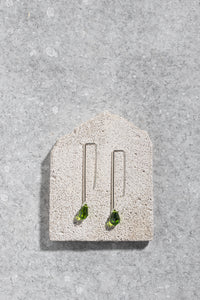 Vintage Swarovski pendant earrings in olive green