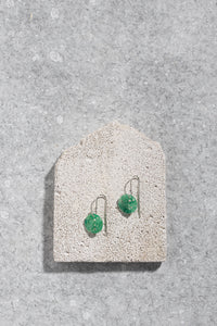 1940s Japanese green glass earrings on shepherd hooks