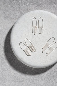 Raw Clear Quartz duo earrings