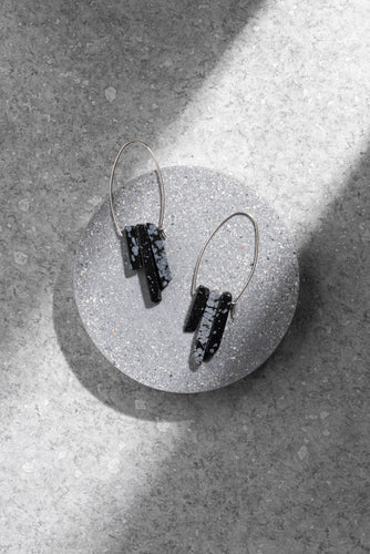 Snowflake Obsidian trio earrings