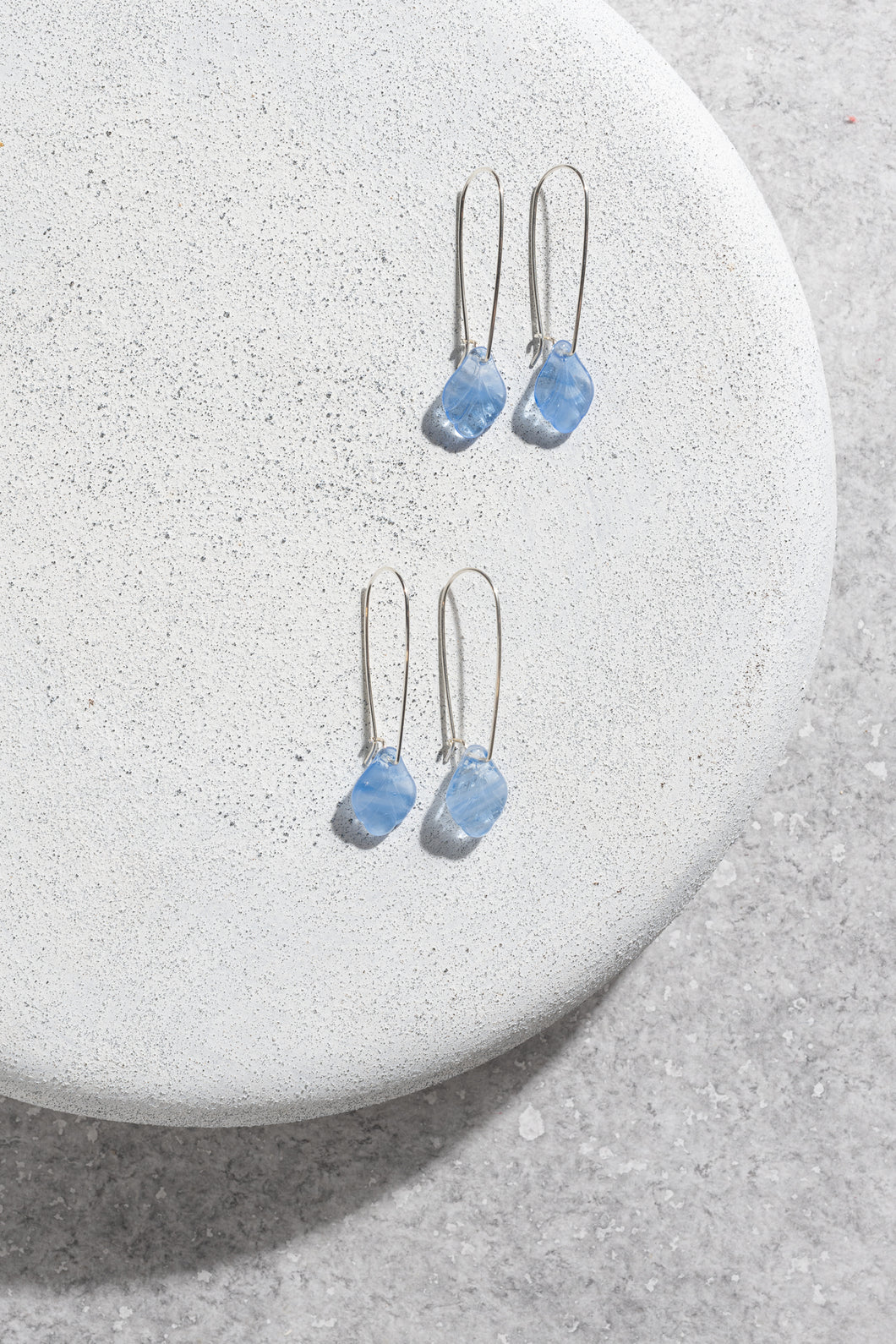 1940s Czechoslovakian vintage blue glass earrings