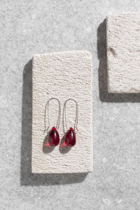 1940s Czechoslovakian red glass earrings