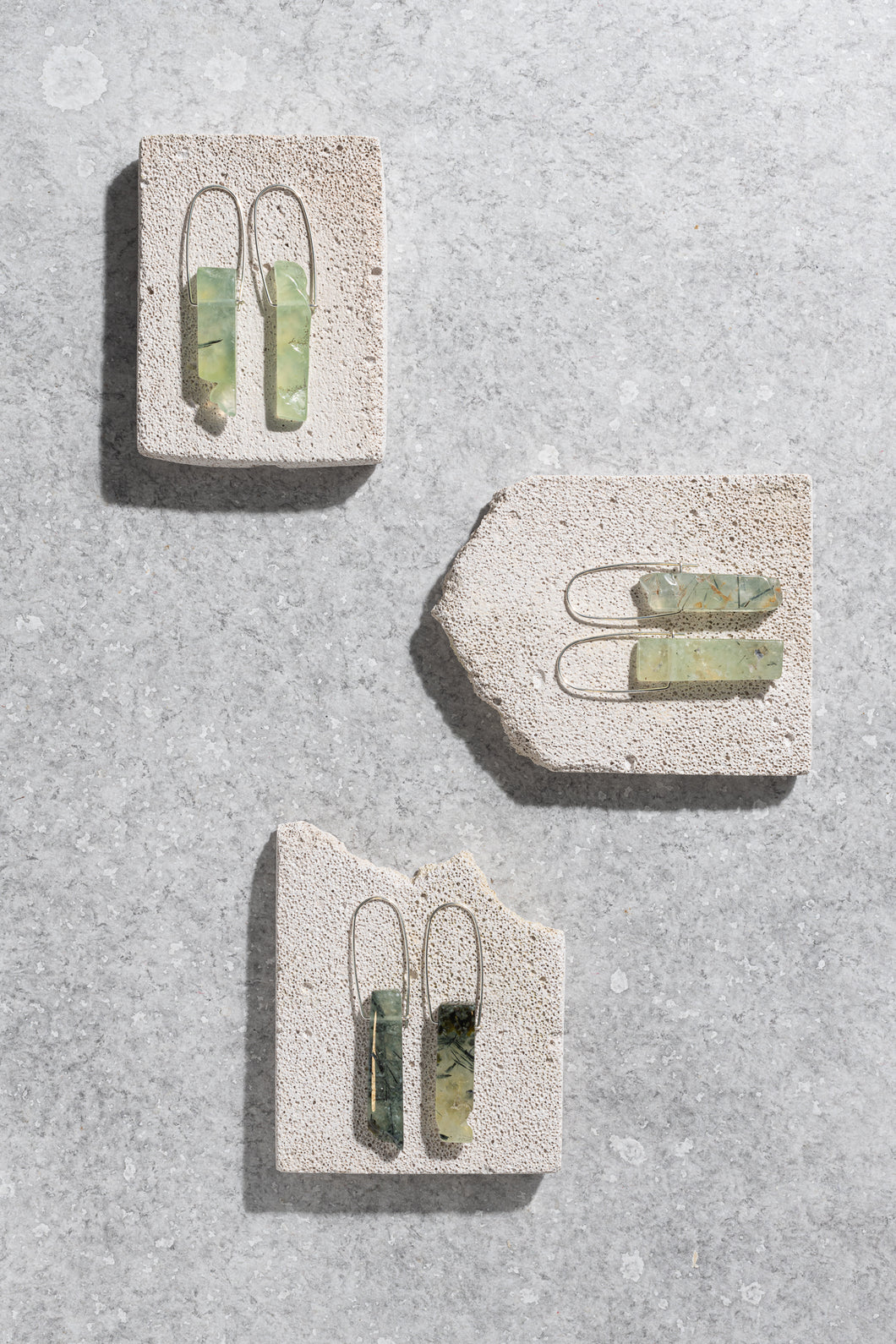 SECONDS: Prehnite sterling silver earrings