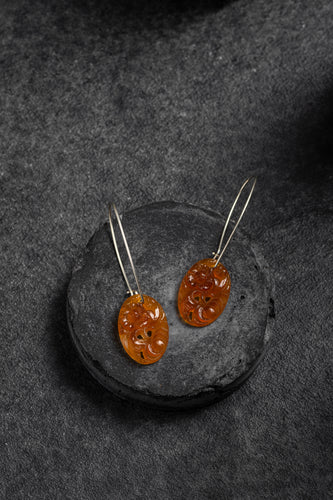 1940s Japanese amber glass earrings