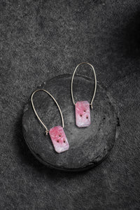 1920s Czechoslovakian translucent pink glass earrings