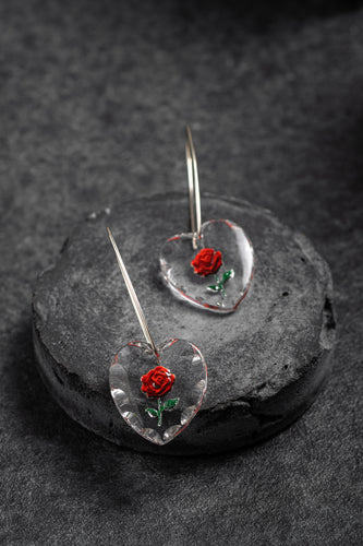 1960s West German glass heart shaped rose earrings