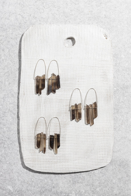 Smokey Quartz trio earrings