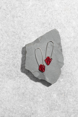 1950s Czechoslovakian red glass earrings