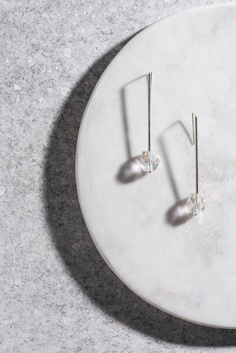 1950s Japanese crystal and sterling silver pendant earrings