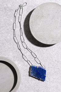Lapis Lazuli neck piece with handmade sterling silver chain