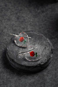 1960s West German glass heart shaped rose shepherd hook earrings